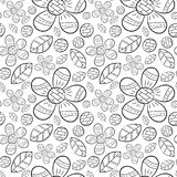 Vector seamless pattern of flat flowers lily of the valley flowers in Scandinavian style hand drawn on a white background. Used fo. R banners, presentations royalty free illustration