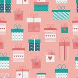 Vector seamless pattern with flat gift boxes. Vector background. Seamless pattern with gift boxes, presents in flat style for Valentines day vector illustration