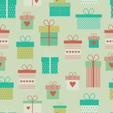 Vector seamless pattern with flat gift boxes. Vector background. Seamless retro pattern with gift boxes, presents stock illustration