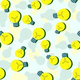 Vector seamless pattern with flat light bulbs. Simple background with yellow bulb. Minimalist vector design Stock Image