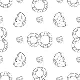 Vector seamless pattern of flat lily of the valley flowers, leaves and a figure eight in Scandinavian style hand drawn on a white. Background. International stock illustration