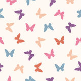 Vector seamless pattern - flat pastel butterflies Royalty Free Stock Photo