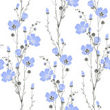 Vector seamless pattern with flax flowers. Royalty Free Stock Image