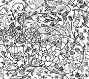 Vector seamless pattern flora and birds. Royalty Free Stock Photos