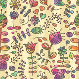 Vector seamless pattern with floral doodling design. Royalty Free Stock Photo
