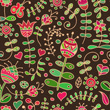 Vector seamless pattern with floral doodling design. Royalty Free Stock Images