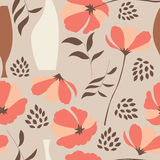 Vector seamless pattern with floral elements, spring flowers, poppies and vases. Vector illustration Stock Image