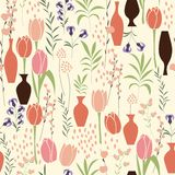 Vector seamless pattern with floral elements, spring flowers, tu. Lips, lilies and vases, vector illustration Royalty Free Stock Photography