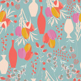 Vector seamless pattern with floral elements, spring flowers, tu. Lips, lilies and vases, vector illustration Royalty Free Stock Images