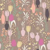 Vector seamless pattern with floral elements, spring flowers, tu Stock Photos