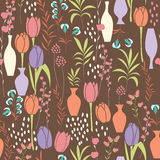 Vector seamless pattern with floral elements, spring flowers, tu. Lips, lilies and vases, vector illustration Royalty Free Stock Image