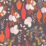 Vector seamless pattern with floral elements, spring flowers, tu. Lips, lilies and vases, vector illustration Stock Photos