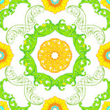 Vector seamless pattern with floral green ornaments. Ornate flor Stock Photos