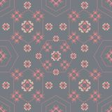 Vector seamless pattern with abstract floral and hexagonal textures royalty free illustration