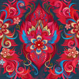 Vector seamless pattern with floral ornament. Royalty Free Stock Photography