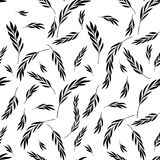 Vector seamless pattern. Floral stylish background with graphic. Leaves and twigs. Black branches of leaves on white background Royalty Free Stock Photos