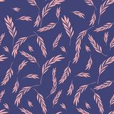 Vector seamless pattern. Floral stylish background with graphic. Leaves and twigs. Pink branches of leaves on blue background