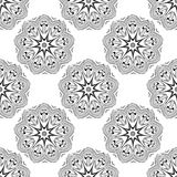 Vector seamless pattern. Floral stylish background. Monochrome repeating texture with linear geometric flowers. Stock Photos
