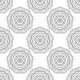 Vector seamless pattern. Floral stylish background. Monochrome repeating texture with linear geometric flowers. Stock Images