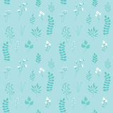 Vector Seamless Pattern, Floral Texture with Blue Royalty Free Stock Photo