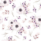 Vector seamless pattern with flower bouquet.Anemone branches and berries. Royalty Free Stock Photography