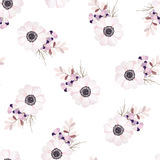 Vector seamless pattern with flower bouquet. Anemone, branches and berries. Vector seamless pattern with flower bouquet Anemone stock illustration