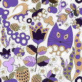 Vector seamless pattern with flower,cat and butterfly, cartoon d Royalty Free Stock Photos