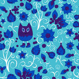 Vector seamless pattern with flower,cat and butterfly, cartoon d Royalty Free Stock Images