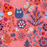 Vector seamless pattern with flower,cat,  and house, cartoon doo Stock Photography