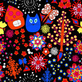 Vector seamless pattern with flower,cat, and house, cartoon dood Royalty Free Stock Images