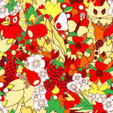 Vector seamless pattern with flower,cat, snail. apple and strawb Stock Photos
