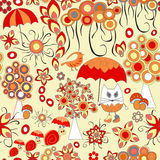 Vector seamless pattern with flower,cat, snail and umbrella, car Royalty Free Stock Images