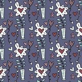 Vector seamless pattern with flowerpots with flowers, hearts and stars. Happy Valentines day card Stock Image
