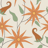 Vector Seamless Pattern of Flowers Stock Image