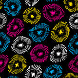 Vector seamless pattern with flowers on black background.  Background with circle ornamental texture. Use for wallpaper, pattern fills, web page background Stock Photo