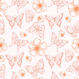 Vector seamless pattern with flowers and butterflies. Stock Photography