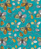 Vector seamless pattern with flowers, butterfly and berries on the orange  background. Royalty Free Stock Images