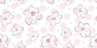Vector seamless pattern with flowers and circles. Print for textiles Royalty Free Stock Photo