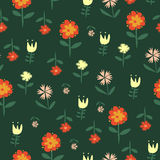 Vector seamless pattern with flowers of doodles Stock Images