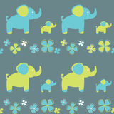 Vector seamless pattern of flowers and elephant Stock Photos