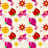 Vector seamless pattern with flowers and floral element Stock Photo