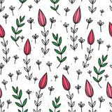 Vector seamless pattern with flowers. Flower background. Hand-drawn style. Scandinavian motives. Vector seamless pattern with flowers. Flower background. Hand stock illustration