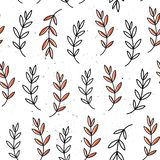 Vector seamless pattern with flowers. Flower background. Hand-drawn style. Scandinavian motives. Vector seamless pattern with flowers. Flower background. Hand royalty free illustration