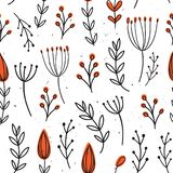 Vector seamless pattern with flowers. Flower background. Hand-drawn style. Scandinavian motives. Vector seamless pattern with flowers. Flower background. Hand vector illustration