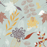 Vector Seamless Pattern of Flowers and Leaves Stock Photos