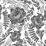 Vector seamless pattern with flowers, leaves and branches. Hand drawing Royalty Free Stock Photos