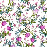 Vector seamless pattern with flowers and leaves Royalty Free Stock Photos