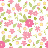 Vector  seamless pattern, flowers and leaves, isolated seamless floral pattern. Vector illustration, floral background Stock Photos