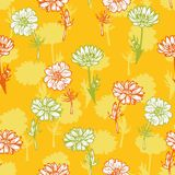 Vector seamless pattern with flowers Stock Images