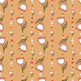 Vector seamless pattern with flowers Stock Photography